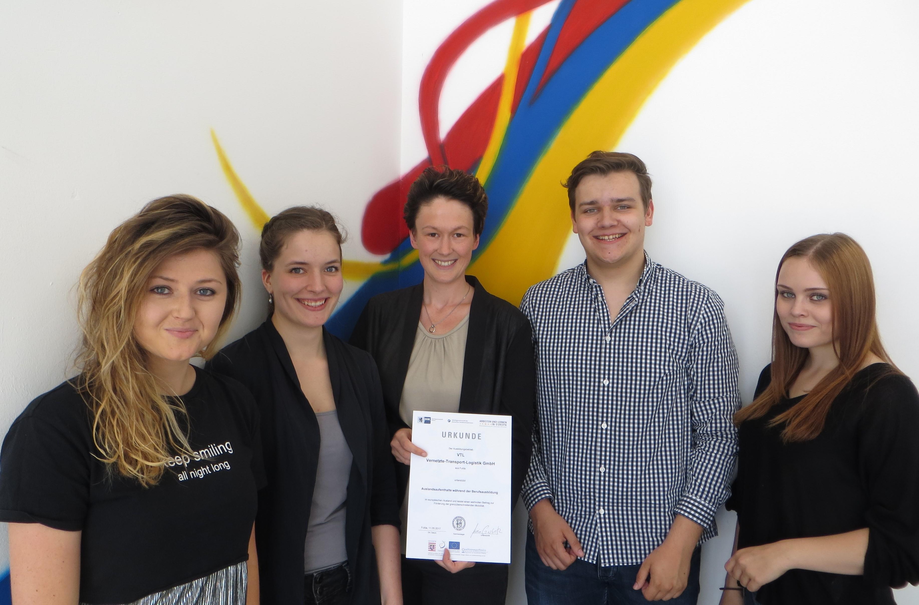 Urkunde für VTL für die Unterstützung von Auslandsaufenthalten während der Berufsausbildung