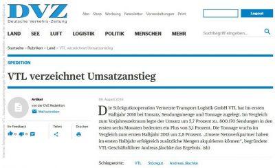Bautagebuch VTL verzeichnet Umsatzanstieg
